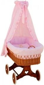 SC Prútený košík pre deti s baldachýnom Medvedík - ružový