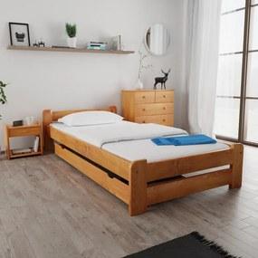 Maxi Drew Posteľ Emily 120 x 200 cm, jelša Rošt: s latkovým roštom, Matrac: s matracom Economy 10 cm