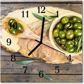 Sklenené hodiny štvorcové  Drevené olivy