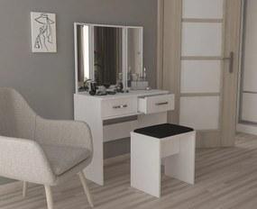 Zostava toaletný stolík s 3 zrkadlami + taburetka Šedá platinová