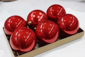 Červené lesklé plastové vianočné gule 6ks 8cm