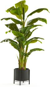 Umelá rastlina: Banánovník, 1500 mm, čierny oceľový kvetináč na podstavci