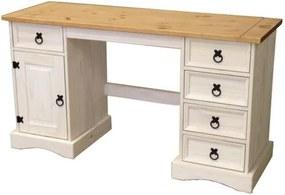 OVN písací stôl IDN 16334B borovica masív biely vosk