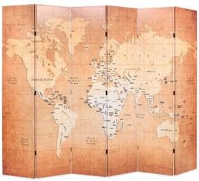 vidaXL Skladací paraván 228x170 cm, potlač mapy sveta, žltý