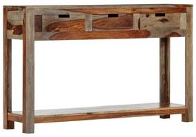 vidaXL Konzolový stolík s 3 zásuvkami 120x30x75 cm sheeshamový masív