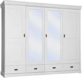 Šatníková skriňa Toskania 4D so zrkadlom a zásuvkami, biela, masív, borovica