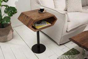 IIG -  Masívny príručný stolík HEXAGON 45 cm šesťhranný Sheesham