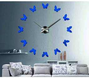 X-momo Moderné hodiny na stenu Motýle LAURA S001 i čierne