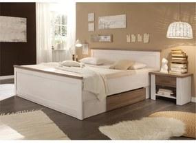 KONDELA Lumera 180 manželská posteľ s nočnými stolíkmi (2 ks) pínia biela / dub sonoma truflový