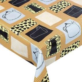 Goldea pvc obrusovina s textilným podkladom - vzor šálky a kanvice - metráž š. 140 cm 140 cm