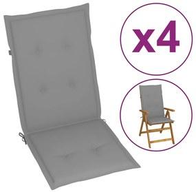 Šedé sedáky na záhradné stoličky, 4 ks, 120x50x3 cm