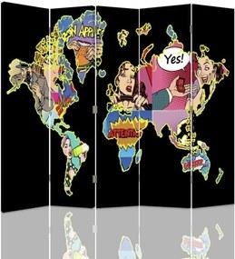 CARO Paraván - Black World Map Pop Art | päťdielny | obojstranný 180x180 cm