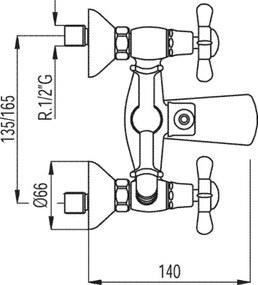 RETRO-TRES Celok sprcha-vaňa Excenter s tlmičom hluku (5241700161)