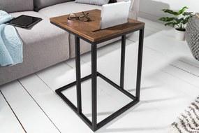 Bighome - Príručný stolík FUSION 43 cm - hnedá, dub