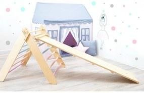 Montessori Piklerovej triangel set 2021 varianta: lakované hranoly, farebné priečky