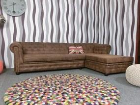 (2216) TORQUAY Chesterfield rohová sedačka hnedá
