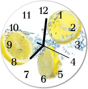 Sklenené hodiny okrúhle  citróny
