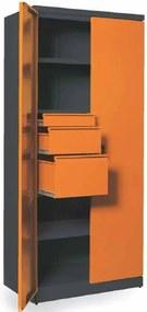 NABBI SN880/2S2 skriňa na náradie so zámkom grafit / oranžová