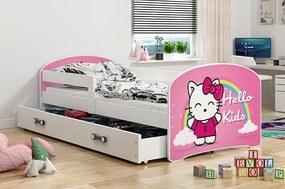 BMS Group Jednolôžková posteľ LUKI - so zásuvkou - BIELA