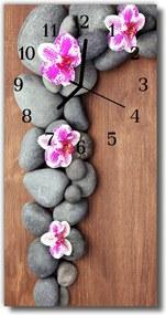 Nástenné hodiny vertikálne  Kvety Stones farebné orchidey