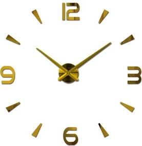 KIK Dizajnové 3D nalepovacie hodiny 80-120cm, zlatá, KX7848