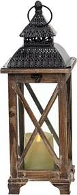 Drevený lampáš s čiernym vrchom MSL3515BR - hnedý (16x16x47 cm) - vidiecky štýl