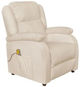 vidaXL Biele elektrické TV/masážne kreslo z umelej kože