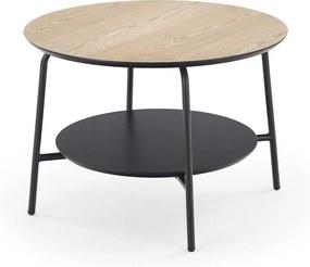 HALMAR Genua LAW3 okrúhly príručný stolík prírodná / čierna