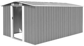 vidaXL Záhradná kôlňa 257x398x178 cm, kovová, sivá