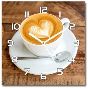 Sklenené hodiny štvorec Káva v šálke pl_zsk_30x30_f_116619399