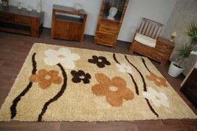 3kraft Detský koberec Pretty Flowers béžovo-žltý