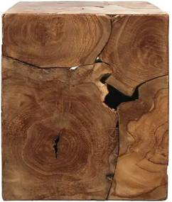 Príručný stolík z teakového dreva HSM collection Cube, 30 × 35 cm
