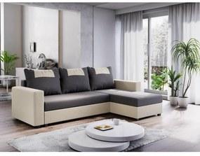 Rohová sedacia súprava s podrúčkami SANVI - krémová / svetlosivá