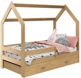Detská posteľ DOMČEK D3 borovica 80x160 cm Rošt: Bez roštu, Matrac: Bez matraca, Úložný box: bez úložného boxu