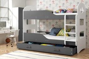 Poschodová posteľ DOMINIK - 190x80cm Biely - Grafitový