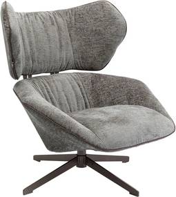 Sivé plyšové otočné kreslo Kare Design Oval Office