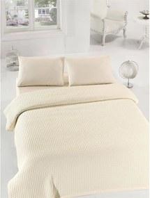 Krémový ľahký bavlnený pléd cez posteľ na jednolôžko Caleidoscope, 160 × 235 cm
