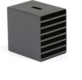 Zásuvkový box na triedenie dokumentov, 7 priehradok, čierny