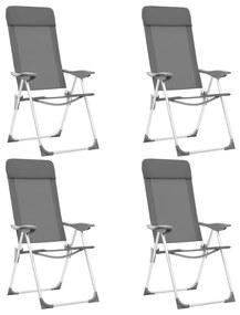 vidaXL Skladacie kempingové stoličky 4 ks, sivé, hliník