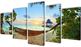 241563 vidaXL Sada obrazov na stenu, motív Piesočnatá pláž s hojdacou sieťou 200x100