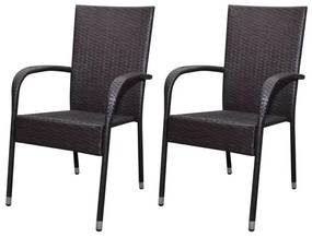 Záhradné jedálenské stoličky, 2 ks, polyratanové, hnedé