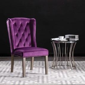 vidaXL Jedálenská stolička fialová zamatová