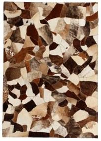 vidaXL Patchwork koberec z kúskov kože, 120x170 cm, hnedo-biely