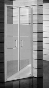 Sprchové dvere Jika Lyra plus dvojkrídlové 90 cm, nepriehľadné sklo, biely profil H2563820006651