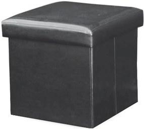 Skladací taburet, ekokoža čierna, TELA NEW