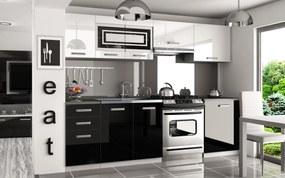 Kuchyňa bielo čierna lesklá Simpli 240 cm Úchytka R
