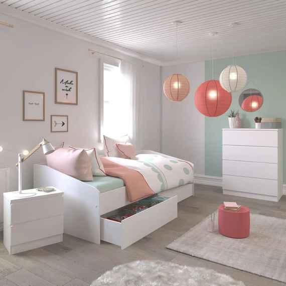 22f204889be10 153,43 EUR Detská izba pre dievča Haven v ponuke dielov - Detská posteľ so  sadou šuplíkov Janis