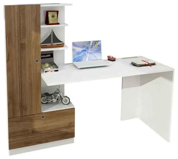 a69f1907b59c4 Biely pracovný stôl s knižnicou v dekore orechového dreva Domingos