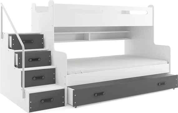Poschodová posteľ MAX 3 - 200x120cm - Biela - Grafitová 40ab457d889