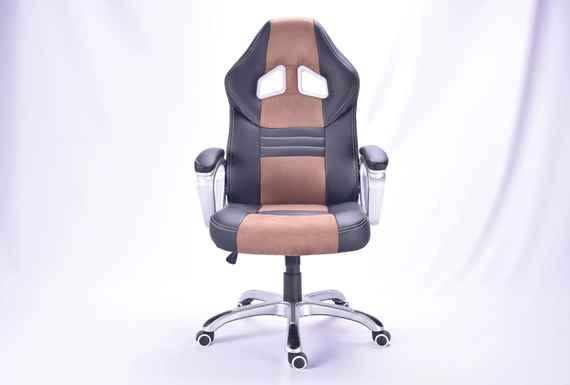 703596286 BEZDOTEKU Kancelárska stolička Alonso čierna s hnedými pruhmi